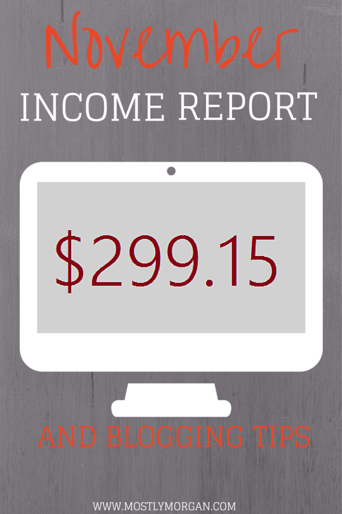 Check out www.mostlymorgan.com to see her November income report and some blogging advice!